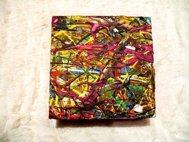 Herwig Maria Stark, ART CUBE 3/14, size 15 x 15 x 6 cm, Mixed media on wooden cube