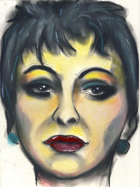 Herwig Maria Stark, LOLA, series HISTORY REPEATING, 28,5 x 21 cm, mixed media on paper