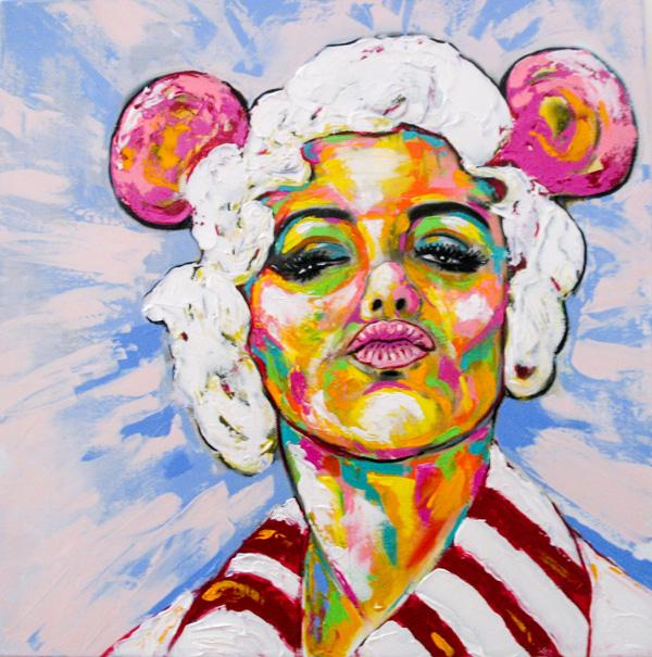 Herwig Maria Stark, THE MONROE REPUBLIC, mixed media on canvas, 80 x 80 cm, Catalogue no. 2016_01
